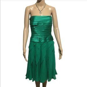Tadashi Shoji Green Silk Dress Size 6